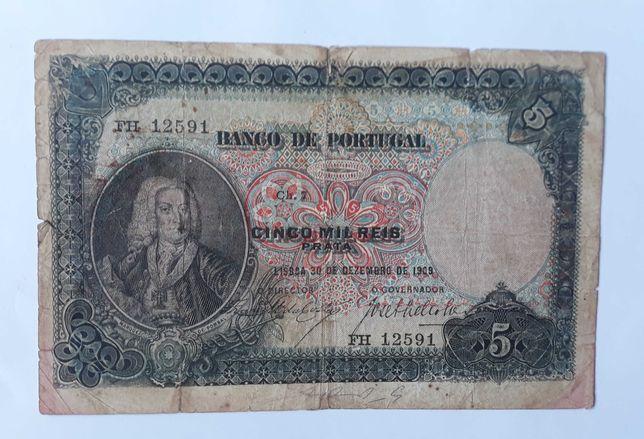 Nota de 5000 réis Prata ch7 de 1909