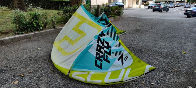 Kitesurf CrazyFly Sculp 7m + barra original + mochila