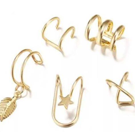 Kolczyki do ucha zestaw 5 sztuk złote