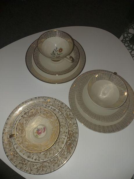 Siedem starych kompletów porcelanowych filiżanek z sygnaturami