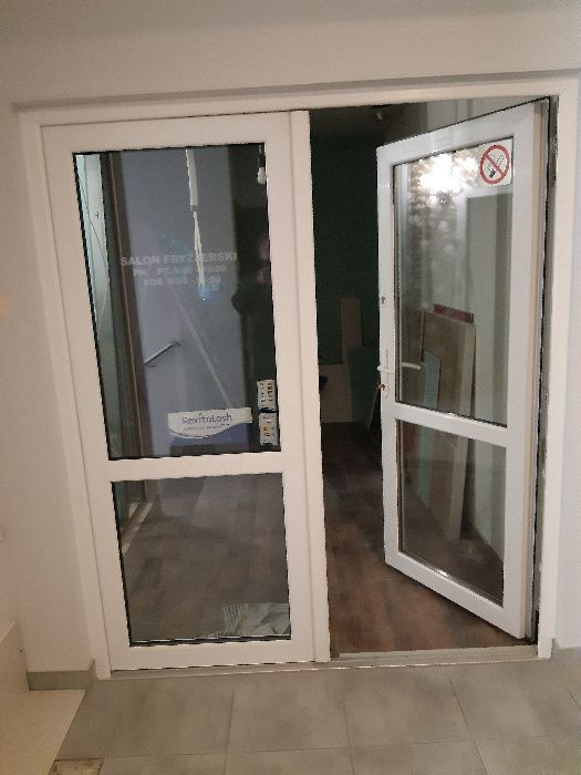 Sprzedam podwójne drzwi plastikowe białe Warszawa - image 1