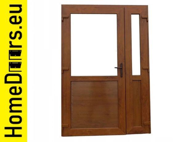 Drzwi zewnętrzne dwuskrzydłowe PCV 140x210 złoty dąb