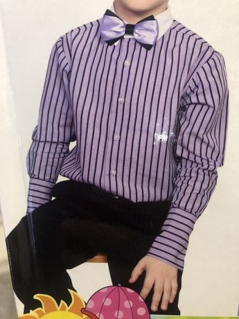 """Рубашка """"Полоска"""" для мальчика, сирень с чёрным Sean John 6 лет 75 грн"""