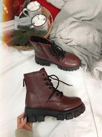 Ботинки Авенто Бордовые Зимние