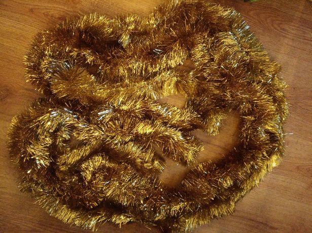 2 łańcuchy choinkowe złote PRL kolekcja 3 m