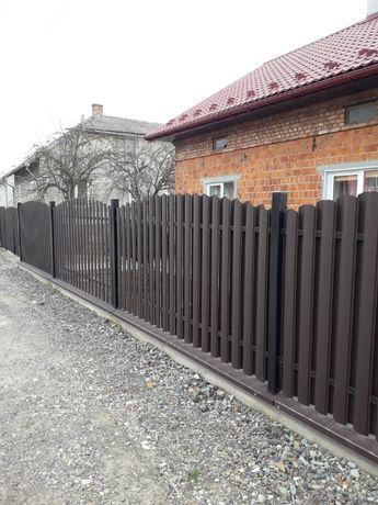 Евроштакетник забор из металлического штакетника