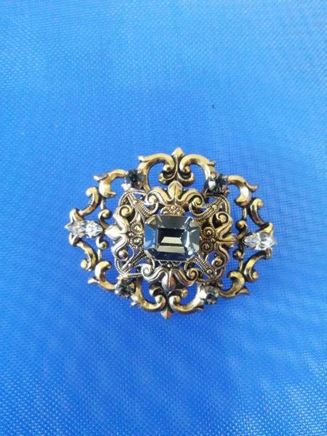 Винтажная брошь королевская стекло чешские кристаллы