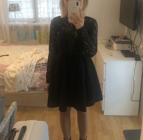 Czarna rozkloszowana sukienka z odkrytymi plecami missguided lou