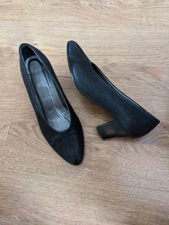 Czarne czółenka retro vintage skórzane buty na niskim obcasie