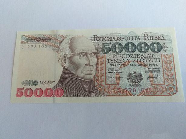 banknot 50000 zł Staszic z 1993 rokur seria S stan UNC