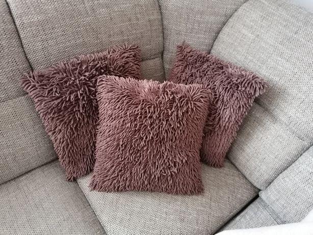 Trzy poszewki na poduszkę Shaggy braz