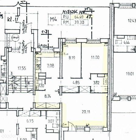 64,5 m2, 3 pokoje, dwustronne