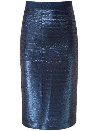 Granatowa spódnica Pure Collection cekiny 46