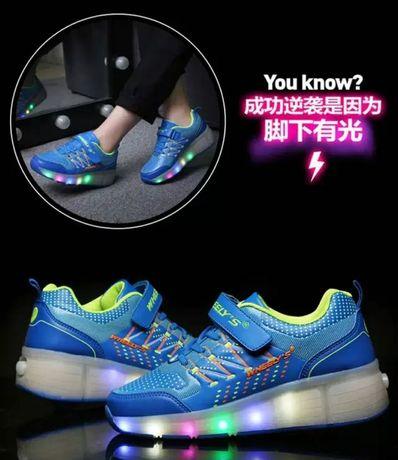 Heelys Светящиеся роликовые кроссовки голубые ролики хилисы р. 30-38