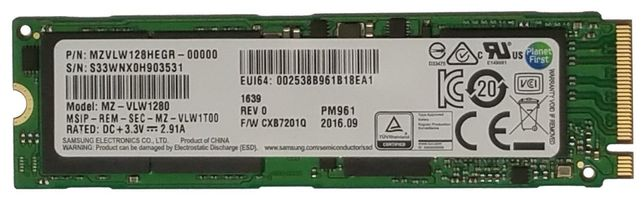 SSD M.2 nvme Samsung Pm961 128Gb Ultra Rapido