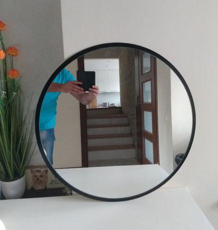 Lustro Okrągłe w Czarnej Ramie Czarne 85 cm Okrągłe lustro to ideal