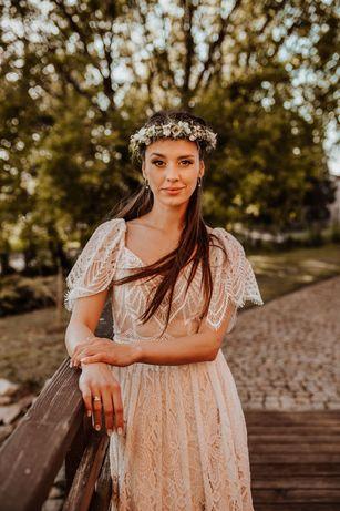 Suknia ślubna boho  rustykalna Joanna Niemiec Ivette