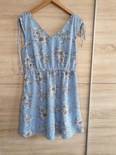 Fajna letnia sukienka paski kwiaty 42