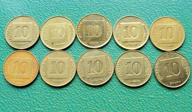 Ізраїль 10 агорот ( різні роки без повторів)