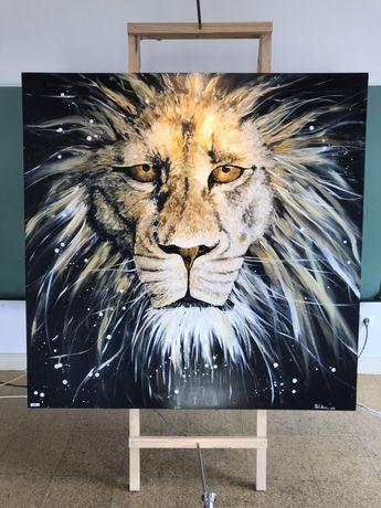 Pintura em acrílico Leão