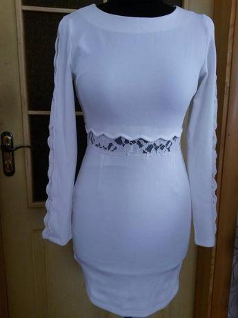 Белое платье с кружевными вставками