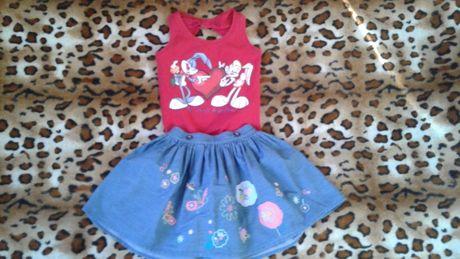 Monnalisa летний комплект майка и пышная юбка 5-6лет
