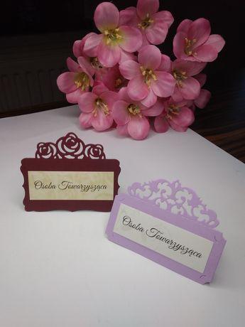 Ażurowe winietki kolorowe koronkowe ślub wesele jubileusz
