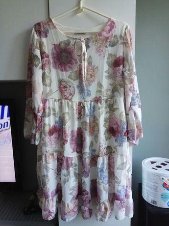 Sukienka włoska falbanki kwiaty M boho