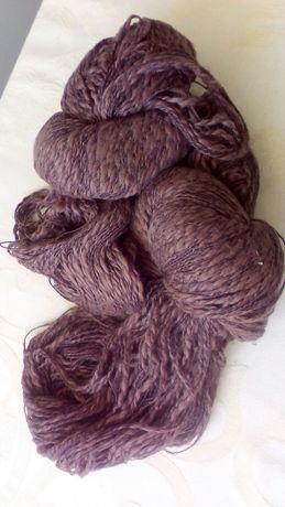 Пряжа коричневая из хлопка, нитки для вязания