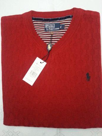 Sweterek Ralph Lauren rozm: 3XL bordo- wzor- Pure New Wool