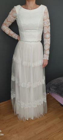 Suknia ślubna dwuczęściowa długi rękaw koronka, boho