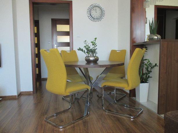 Stół okrągły drewniany na metalowej podstawie