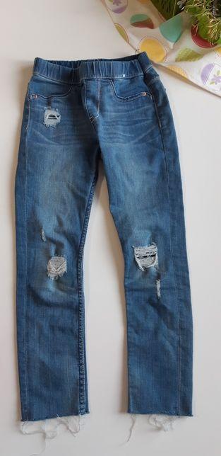 Spodnie jeansy leginsy z dziurami 116 H&M