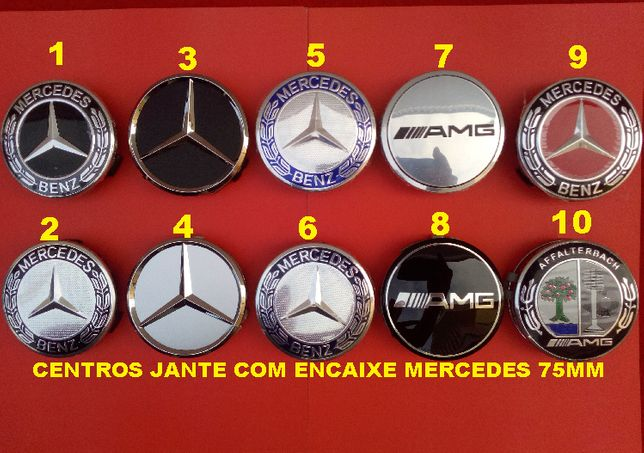 4 centros jante Mercedes 75mm 7,5cm tampa logótipo encaixe AMG CLA B C