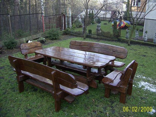 Meble ogrodowe z drewna liściastego, brzoza, olcha. Duży zestaw.