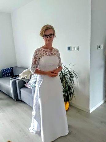 Suknia ślubna 38/40 Mikado koronka litera A