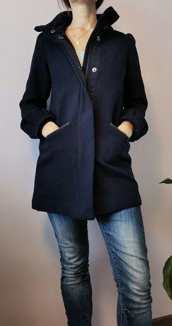 Granatowy wełniany płaszcz damski rozmiar S