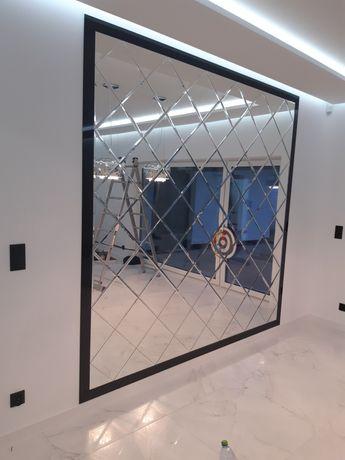 Lustra na wymiar Lacobel grafiką na szkle lustro