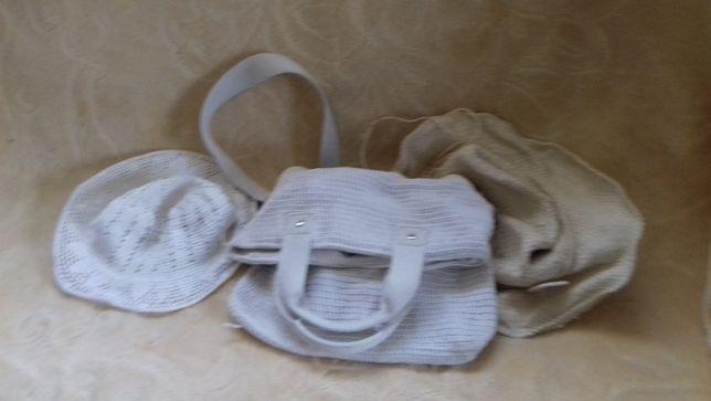 Szydełkowy kapelusz i torebka