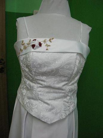Suknia ślubna biała ze złotą nitką r.40