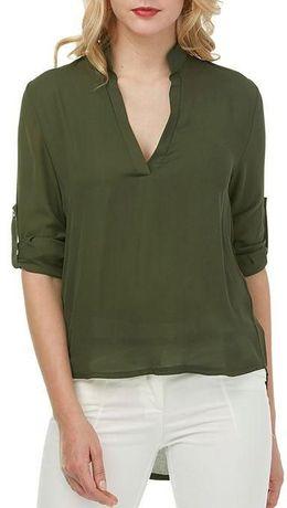 Koszula khaki v-neck, rękaw 3/4, dłuższy tył, butelkowa zieleń M/L/XL