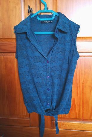 Camisola azul com padrão de leopardos Primark, tamanho 34