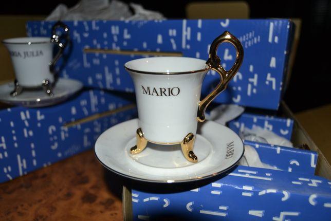 """Conjunto de café com inscrição """"Mário"""""""