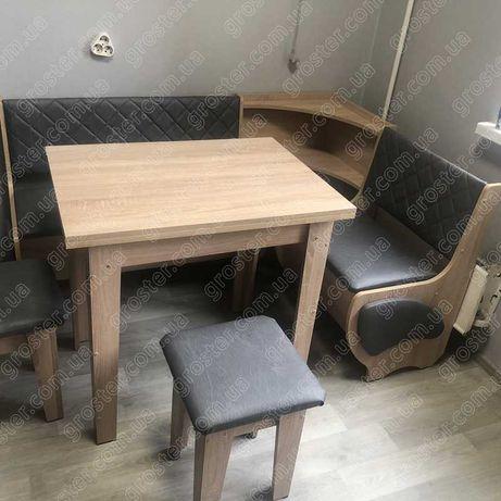 Мягкий кухонный уголок Милорд, раскладной стол, 2 табурета