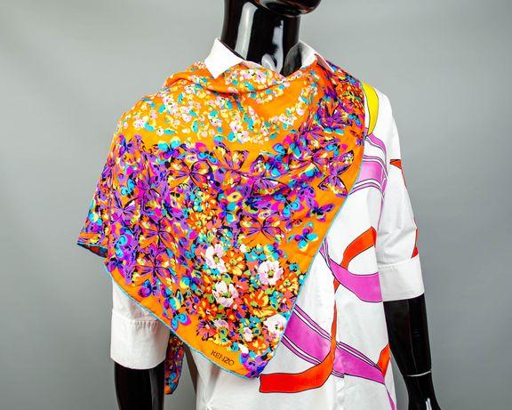 Фирменный шелковый платок Kenzo.Очень яркий платочек.Большой платок