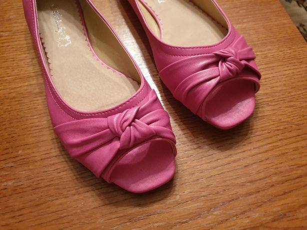 NOWE RÓŻOWE BALERINY skóra różowe balerinki rozmiar 39