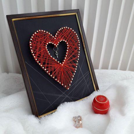 Валентинка, сердце, String-art, 14 февраля, подарок на день валентина