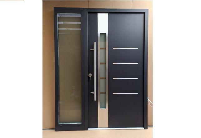 WYPRZEDAŻ!! drzwi zewnętrzne CIEPŁE 67mm + naświetle ANTRACYT inox