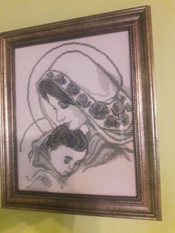 Картина «Мажонна з дитятком» бісером