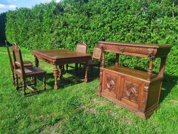 Meble rzeźbione DĘBOWE stół krzesła komoda